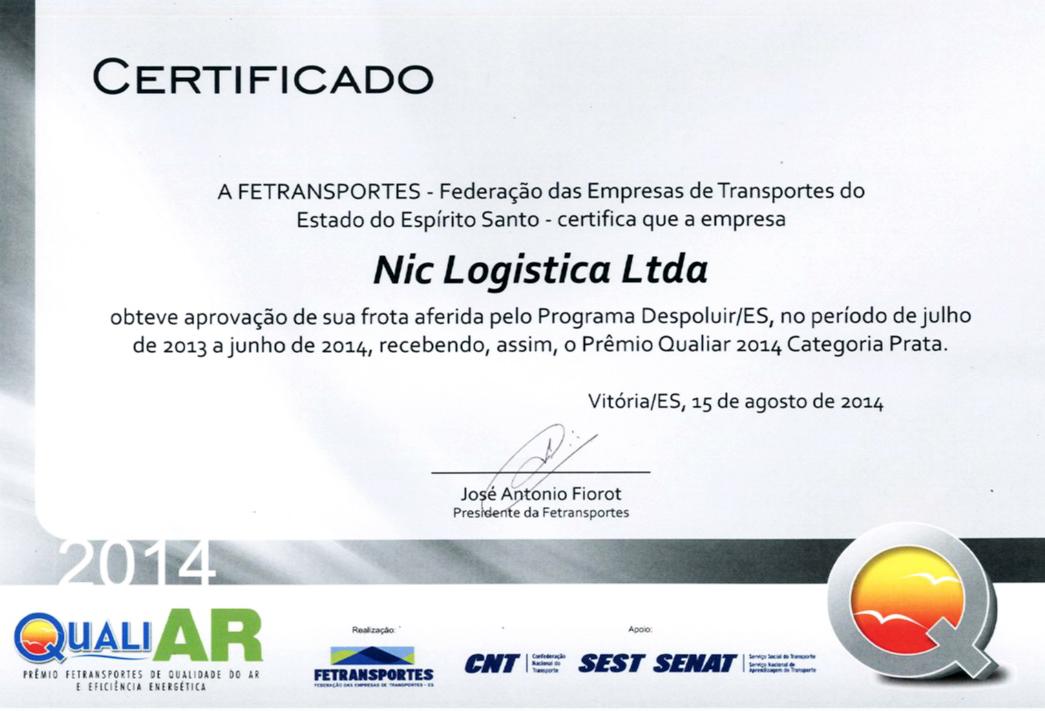 Prêmio Qualiar de Meio Ambiente Recebido pela Nic Logística